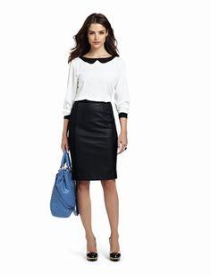 Inspiração para uso da minha saia de couro + camisa branca com gola Peter pan by The Limited