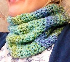 Cowl crocheted in Rosalind yarn, done by Jodi Villanella.