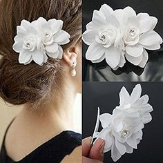7cm x 9cm Women Beach Orchid Bridal Wedding Flower Hair Clip Brooch Barrette Headpiece Pin White >>> Find out more about the great product at the image link.-It is an affiliate link to Amazon. #WeddingFlowers