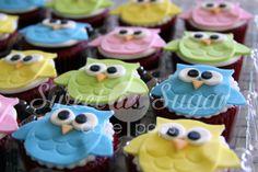 sugar owl cake decorations   Owl Fondant Cupcake Toppers - HOOT!