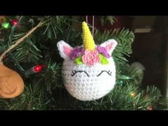 Free pattern for a crocheted Unicorn ornament. The perfect Christmas ornament for little girls or anyone else who loves unicorns.