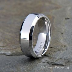 Cobalt Wedding Band, Mens Wedding Band, Wedding Band, Mens Ring, Custom Made, Rings, Bands, Beveled, 8mm, Handmade, Anniversary