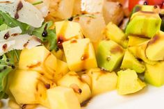 Buy Jumbo shrimp salad with avocado and mango. by indigolotos on PhotoDune. Jumbo shrimp salad with avocado and mango topped with pine nuts and parmesan cheese. Photo can be used as a wh. Healthy Milkshake, Milkshake Recipes, Fruit Salad Recipes, Shrimp Salad, Avocado Salad, Vegan Vegetarian, Macaroni And Cheese, Veggies, Ethnic Recipes