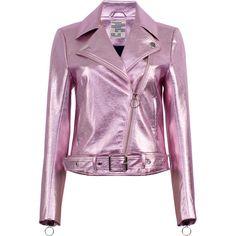 Baum und Pferdgarten Britany Metallic Leather Jacket (6.931.425 VND) ❤ liked on Polyvore featuring outerwear, jackets, purple, leather zip jacket, 100 leather jacket, purple leather jacket, metallic jackets and zipper jacket