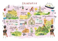 """Clair Rossiter, map of Edinburgh for The Art Group. This is perfect except that it's called """"Calton Hill"""", not """"Carlton Hill"""". Travel and map illustration Scotland Map, Scotland Travel, Edinburgh City, Glasgow, Travel Maps, Travel Posters, Country Maps, Travel Illustration, Flat Illustration"""