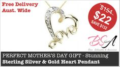 PERFECT MOTHER'S DAY GIFT - Stunning Sterling Silver & Gold Heart Pendant   Delivered FREE to your door anywhere within Australia  #charm #gold