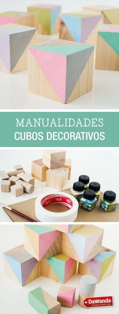Tutorial DIY: Cómo hacer cubos decorativos de madera - en DaWanda.es Diy Crafts To Sell, Crafts For Kids, Types Of Craft, Kids Wood, Posca, Diy Paper, Wooden Toys, Easy Diy, Diy Projects