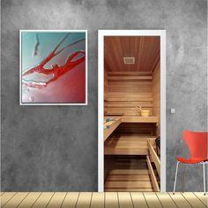 Σάουνα πίσω από την πόρτα, αυτοκόλλητο πόρτας