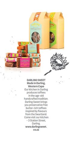 DARLING SWEET - Made in #Darling, #WesternCape.  Our kitchen is Darling produces toffees in the age-old handcrafted tradition. Darling Sweet brings you preservative free butter-rich toffees inspired by flavours from the #Swartland. Come visit our kitchen - 3 Station Street, Darling.