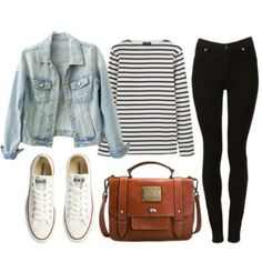 jean jacket white long sleeve t-shirt black high waisted jeans white converse