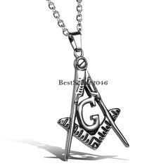 Damen Herren Edelstahl Halskette mit Freimaurer Anhänger Silber Gold