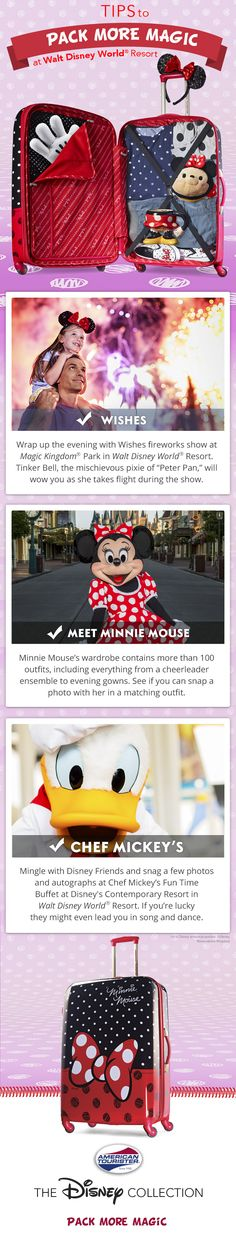Love Minnie Mouse? Love Walt Disney World? Our Minnie Mouse luggage can get you there in style, and here's a little extra guidance on how you have a great time on your Walt Disney World family vacation.