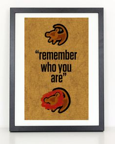 Remember Who You Are Poster  - Lion King Poster.  Great for Kids room wall decor or nursery room decor