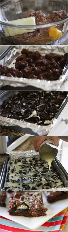 Gooey Cookies and Cream Chocolate Cake Bars Ingredients 1 Devils Food Cake Mix 8 tablespoons (1 stick) unsalted butter, softened 1 large egg 1 1/2 cups chocolate chips 14 ounce can sweetened conden…