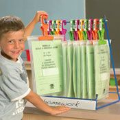 """awesome way to keep """"cubby"""" paper materials organized for the kids"""