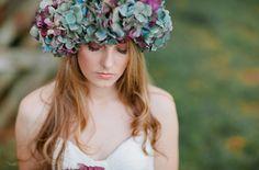 20 Floral Bridal Crowns & Flower Wreaths {Trendy Tuesday}   Confetti Daydreams - A purple and blue Hydrangea floral bridal crown ♥  ♥  ♥ LIKE US ON FB: www.facebook.com/confettidaydreams  ♥  ♥  ♥ #Wedding #FlowerCrowns #FlowerWreaths