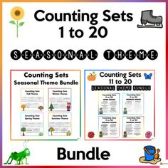 Help your students master the skill of counting 1 to 20 with our counting sets worksheets in different seasons to make learning fun. These worksheets are printer-friendly and could also be used if you are teaching virtually. This bundle includes:* Counting Sets 1 to 10 Worksheets* Counting Sets 11 t... School Resources, Classroom Resources, Math Resources, Classroom Organization, Classroom Management, School Stuff, Back To School, Different Seasons, My Teacher