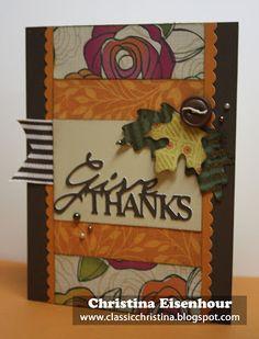 An autumn card featuring Flirty paper and the Artiste Cricut Cartridge
