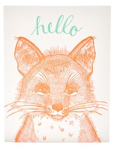 Fox Hello card, by Sycamore Street Press at Leif.
