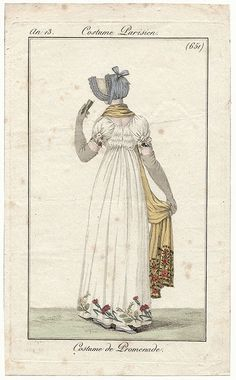 Back view of gown, shawl and bonnet an13 costume parisien