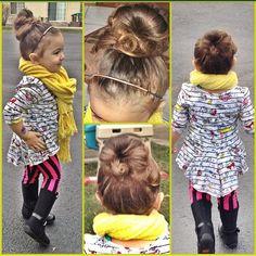 #Bun #scarf #leggings #stripes #boots #toddler #fashion