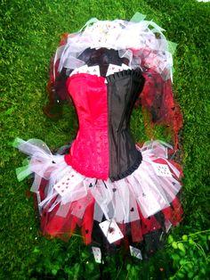 Queen Of Hearts Wonderland Cards Tutu Corset Set Red Black Casino Alice In Wonderland costume