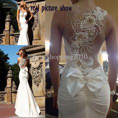 Wholesale Mermaid Wedding Dresses - Buy Peal Bead Wedding Dress See Through Neckline with One Shoulder Beaded Work Mermaid Deisgn Reaml Wedding Dress, $158.88   DHgate