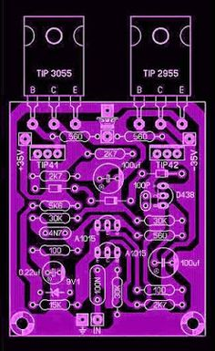 OCL Power Amplifier - Electronic Circuit Power Amplifier OCL 50 Watt is a power amplifier that is now very popular and widely used for audio in homes.See circuit Diagram, components, and PCB Layout design here Basic Electronic Circuits, Electronic Circuit Design, Electronic Kits, Electronic Schematics, Electronic Engineering, Electronic Recycling, Electronics Projects, Cool Electronics, Waves Audio