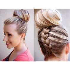 Hair Trend Alert Inverted French Braid Top Knot Tutorial ❤ liked on Polyvore