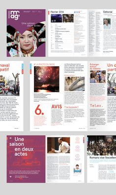 mise-en-page-magazine-municipal-romans-ville  La nouvelle identité visuelle de la Ville de Romans-Sur-Isère. Sexe, ravioles et rock n' roll !  City branding Logo design Flat Minimal posters  http://www.grapheine.com/branding/identite-visuelle-de-romans-sur-isere