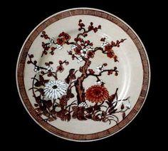 VINTAGE Raised Enamel Painted India Tree Greek Key Pattern Plate Hong Kong