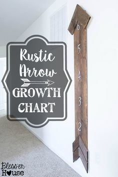 DIY Rustic Arrow Growth Chart Bless'er House Cute twist on the oversized ruler ones! Woodworking Projects Plans, Teds Woodworking, Handmade Home Decor, Diy Home Decor, Room Decor, Business Card Displays, Growth Chart Ruler, Growth Charts, Kids Wood