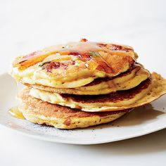 Country Ham Flapjacks with Maple Syrup - Leftover ham and packaged corn muffin mix combine to form flavor-packed savory pancakes in just 20 minutes. Savory Pancakes, Pancakes And Waffles, Banana Pancakes, Cornmeal Pancakes, Coconut Pancakes, What's For Breakfast, Breakfast Dishes, Breakfast Recipes, Pancake Recipes