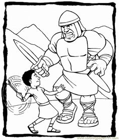 bible coloring pages david and goliath | David and Goliath craft | Sunday School Coloring & Craft ...