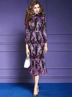 Embroidery Print O-Neck Lace Long Sleeve Cheongsam Dress