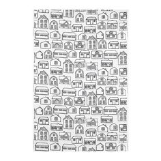 i love this fun fabric. it would be fun to paint or embroider these houses to make a cool wall hanging or throw pillow cover!