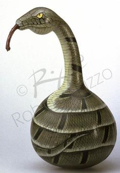 Hand painted gourd snake by Roberto Rizzo | www.robertorizzo.com