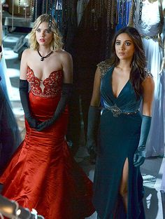 Pretty Little Liars Season 5 Finale - Hanna Marin (Ashley Benson) and Emily Fields (Shay Mitchell) wear Prom Dresses from Sherri Hill and Mac Duggal