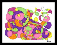 """Greeting Art Card w/envelope, """"Summer Abstraction,"""" by Rielle 5 1/2"""" x 4 1/4"""" on Etsy, $4.99"""
