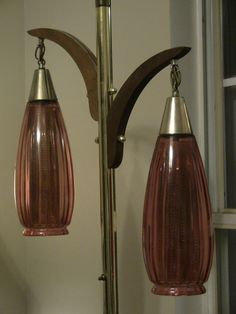 Vintage Tension Pole Lamp Amber Glass Shades