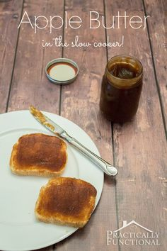 Apple butter recipe you can make in the slow cooker! Love this idea for neighbor gifts!