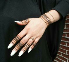 Simple finger henna design                                                                                                                                                     More