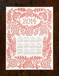 2014 Letterpress Calendar by ShopKatharineWatson on Etsy, $22.00