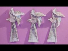 62 Ideas Origami Money Folding Link For 2019 Origami 3d, Kimono Origami, Origami Music Note, Origami Xmas Tree, Easy Money Origami, Origami Pokemon, Money Origami Heart, Money Origami Tutorial, Origami Pumpkin