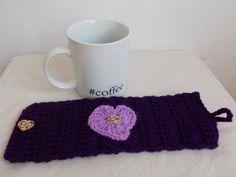 Valentines Day gift idea purple cup sleeve by PurpleValleyDesign