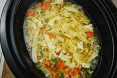 Ingredients 1 lb skinless, boneless chicken breasts 1 tsp olive oil 8 cups fat free chicken broth 3 large carrots, chopped 3 celery stalks, chopped 1 small yellow onion, finely chopped 2 cloves garlic, minced 1 tsp dried thyme 1/2 tsp dried rosemary 1 tsp dried dill 4 oz egg noodles Juice from 1/2 a …