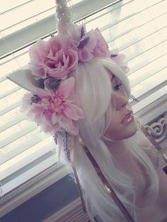 Soft pink white horn unicorn glitter ears cosplay von pamzylove