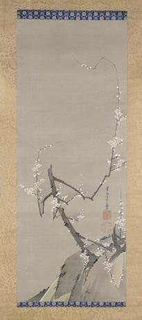 伊藤若冲 ITO Jakuchu, 中鶏左右梅図(右幅)Ume, the right-hand one of the three-piece hanging scroll set, 天明9年(1789) 金閣寺蔵 Kinkakuji temple