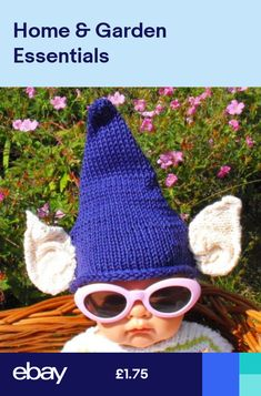 1a77546497157 PRINTED KNITTING INSTRUCTIONS-BABY BIG EARS PURPLE PIXIE HAT KNITTING  PATTERN