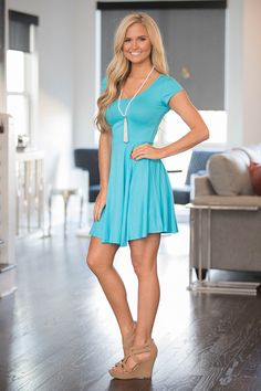 Shoreline Stroll Dress Aqua - The Pink Lily